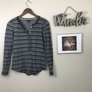 Lucky Brand Long Sleeve Henley with Tribal Print